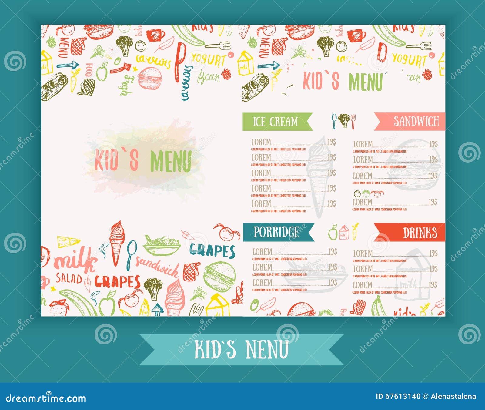 kids menu cute colorful hand drawn vector template kids menu design