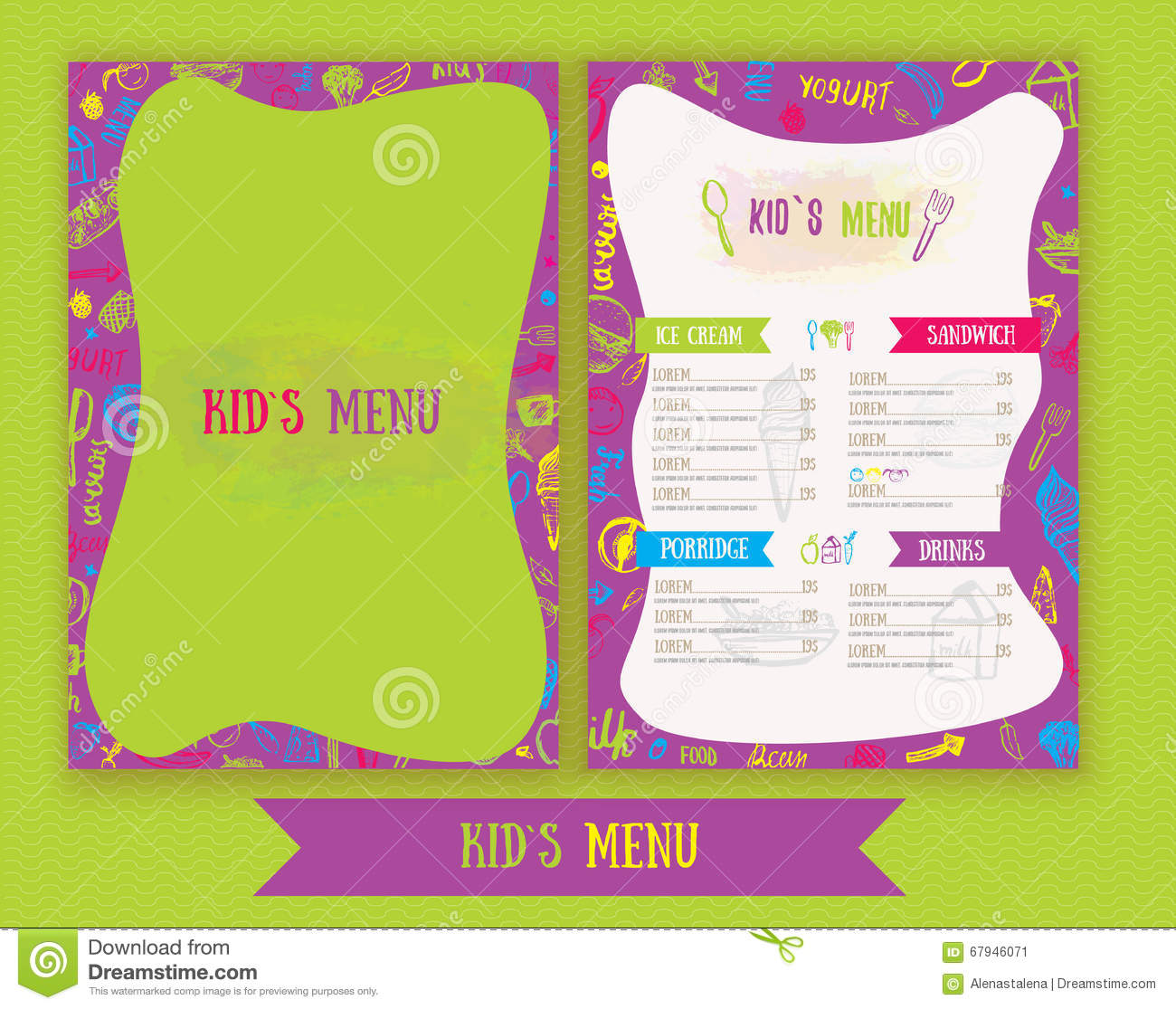 Kids Menu Cute Colorful Hand Drawn Vector Template Kids Menu Kids Menu Cute  Colorful Hand Drawn Vector Template Kids Menu Design Party Cafe Creative  Kids ...  Free Kids Menu Templates