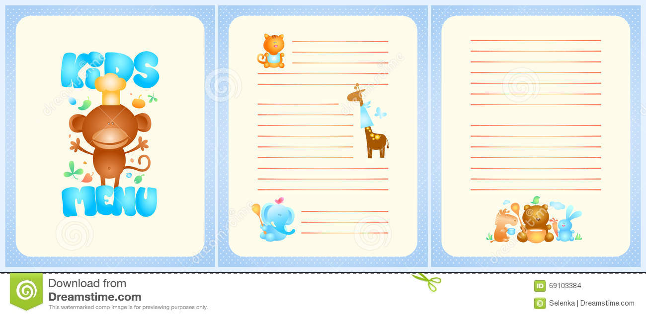 Kids Menu List Design With Front Page And Pages For Dishes Stock ...