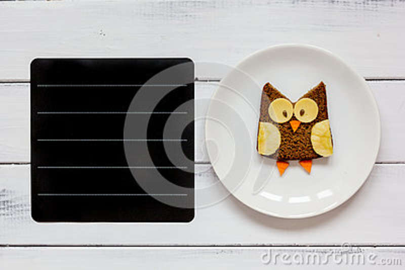 Kids menu owl shaped sandwich place for text top view