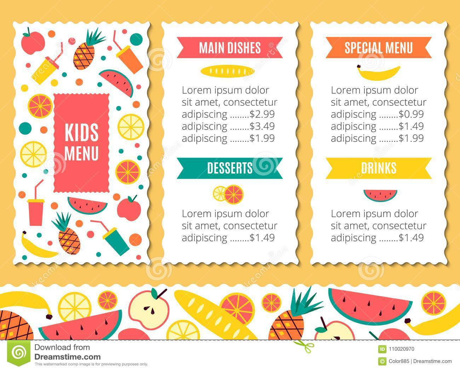 Cute Colorful Kids Meal Menu Template Illustration