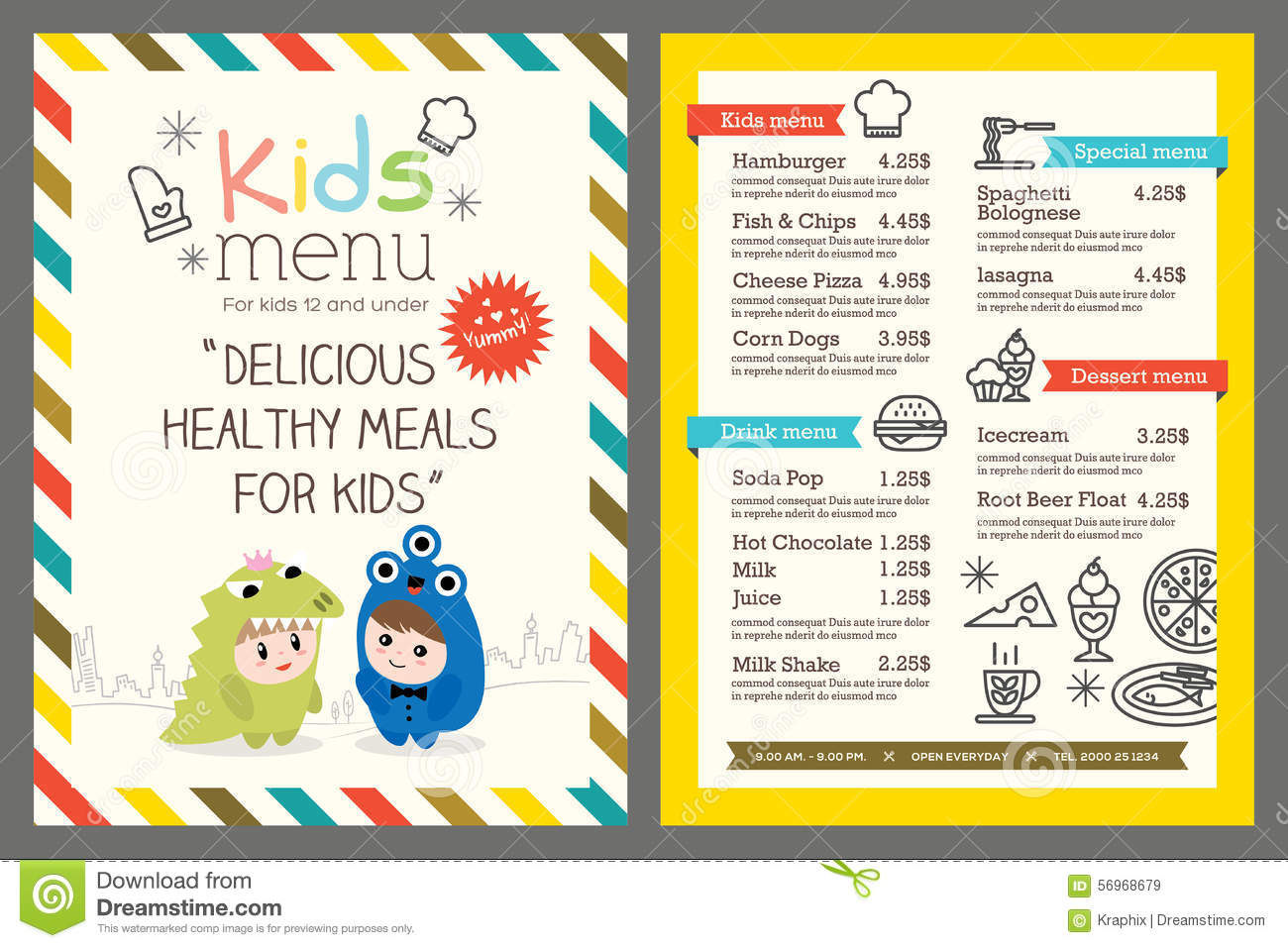 Kids menu vector template stock vector illustration of for Free printable menu templates for kids