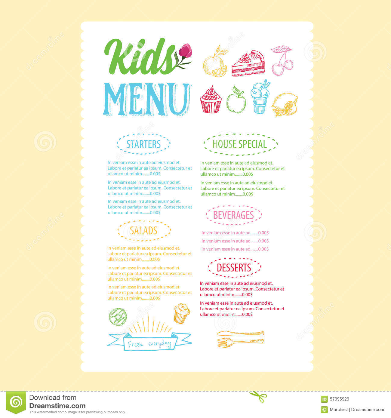 Kids Menu. Vector Template. Royalty Free Stock Images  Free Kids Menu Templates