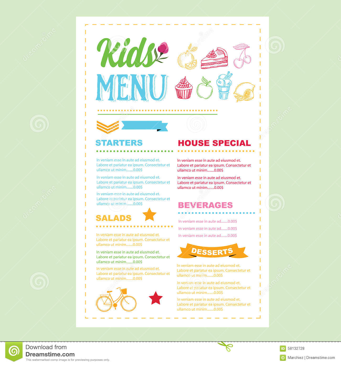 Kids Menu. Vector Template. Royalty Free Stock Photos  Free Kids Menu Templates