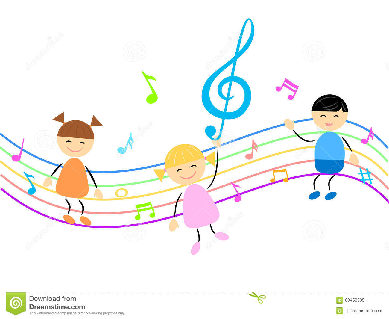 Kids And Music Stock Vector - Image: 60450905