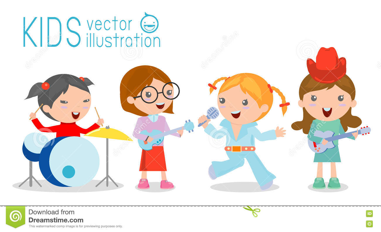 Kids And Music, Vector Illustration Of Four Girl In A