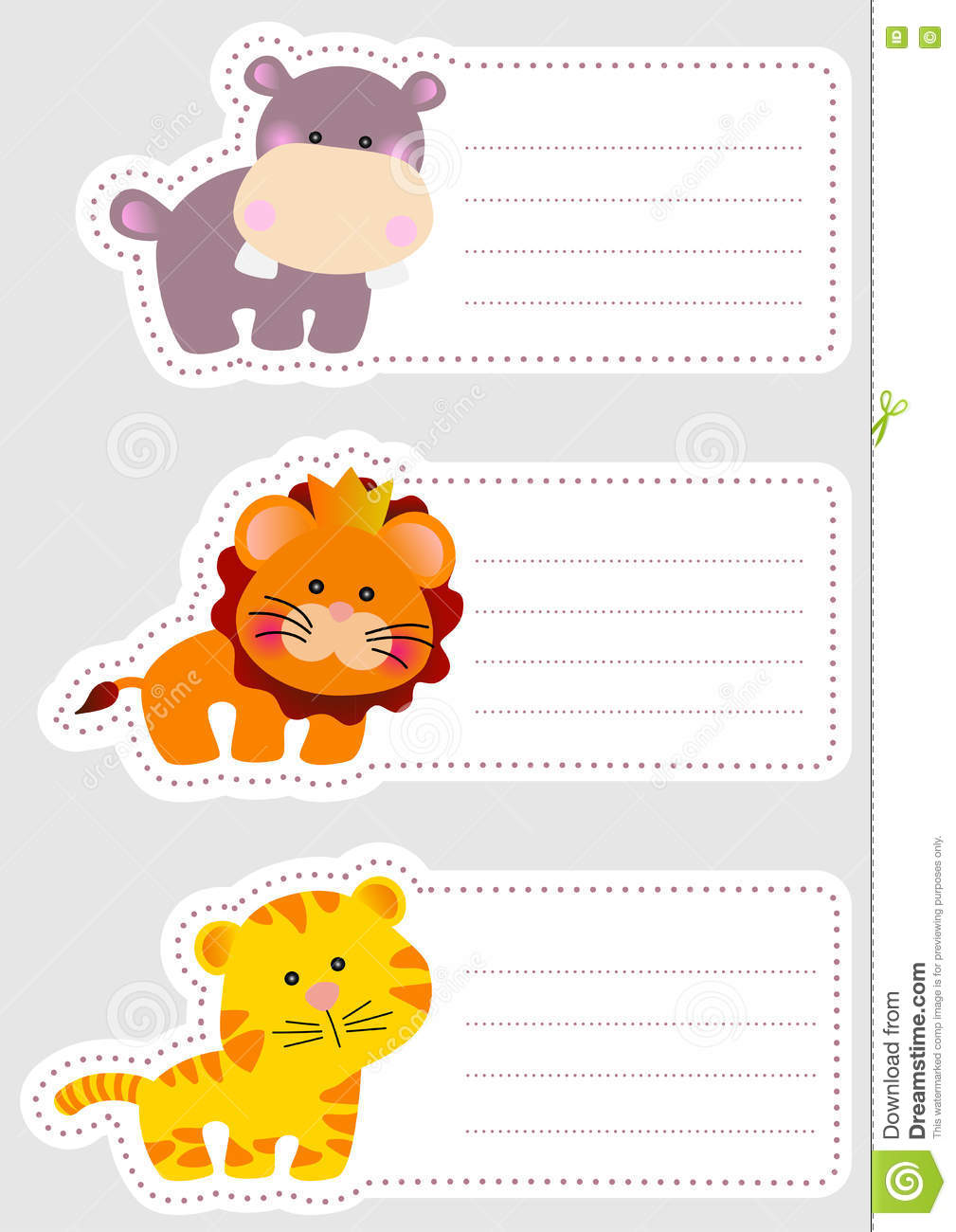 Colorful Kids Name Tags Cute Animal Stock Vector 252965050 ...