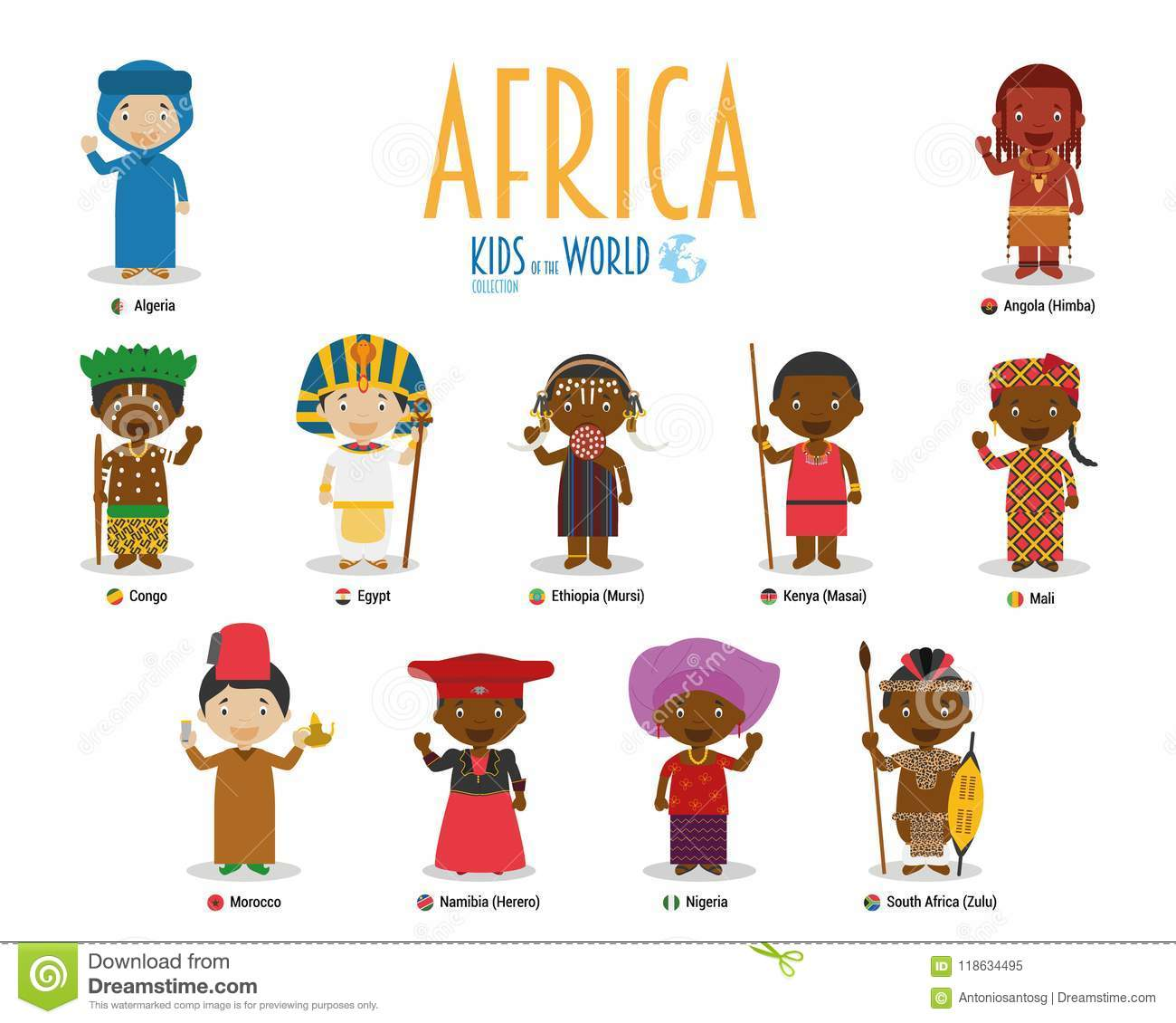 Kids and nationalities of the world vector: Africa.