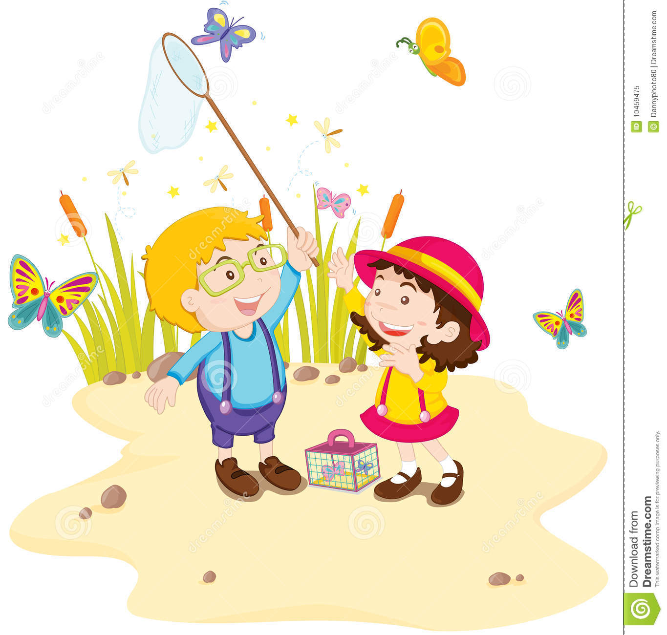 Kids in nature stock vector. Illustration of male, capture ...