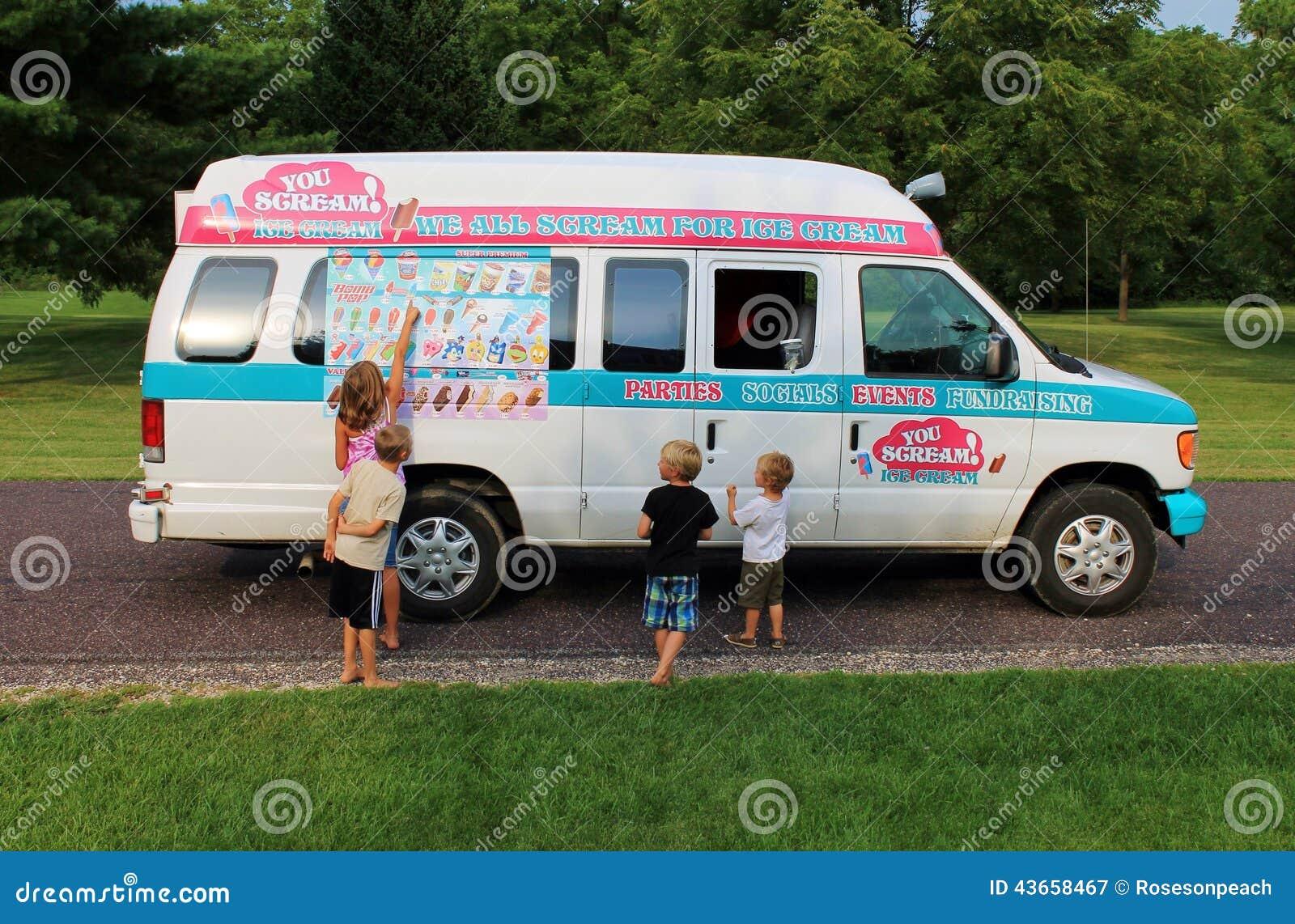 kids at the neighborhood ice cream truck editorial photography
