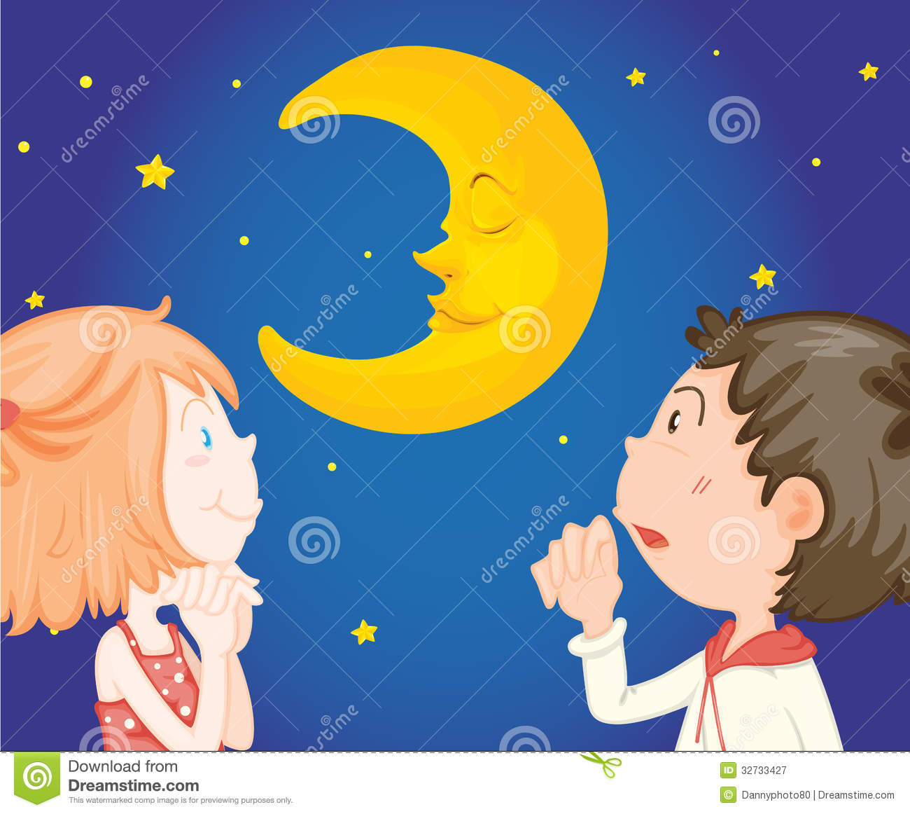 Kids at night with moon royalty free stock photography image - Royalty Free Stock Photo Couple Moon Night