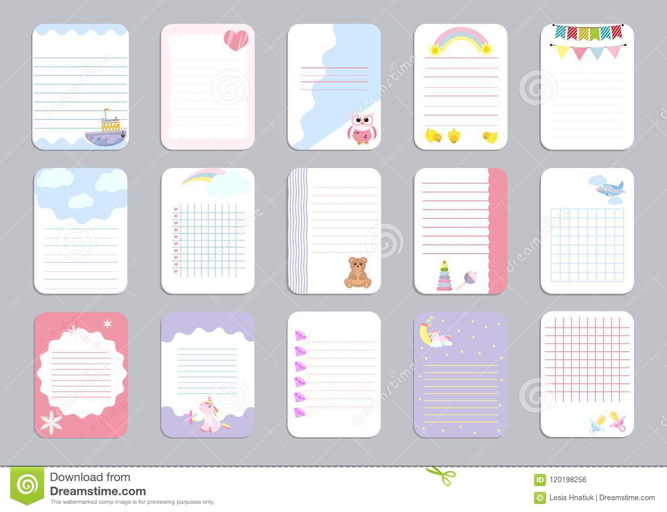 kids notebook page template vector cards, notes, stickers, labels