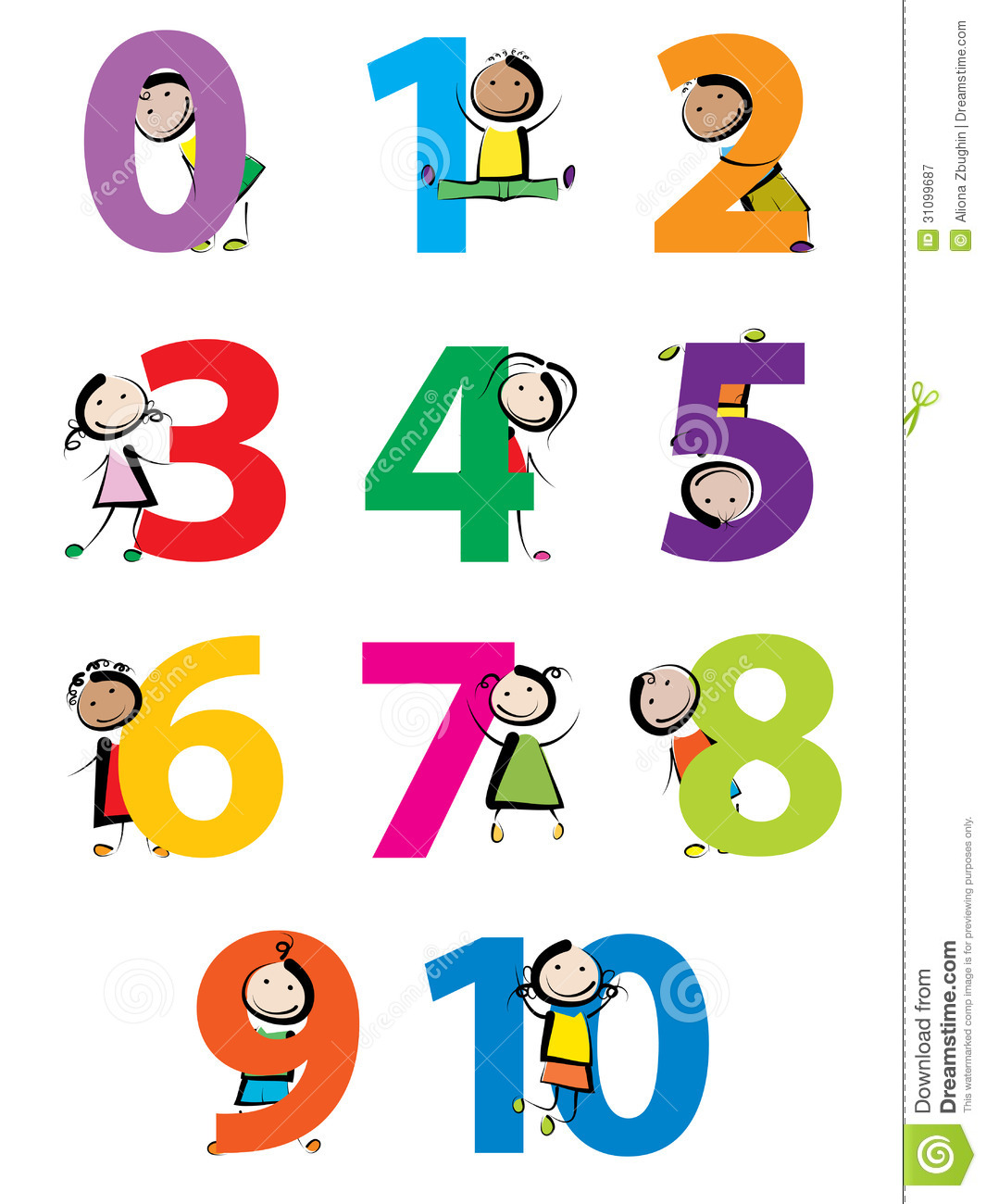 Kids with numbers stock vector. Illustration of doodle - 31099687