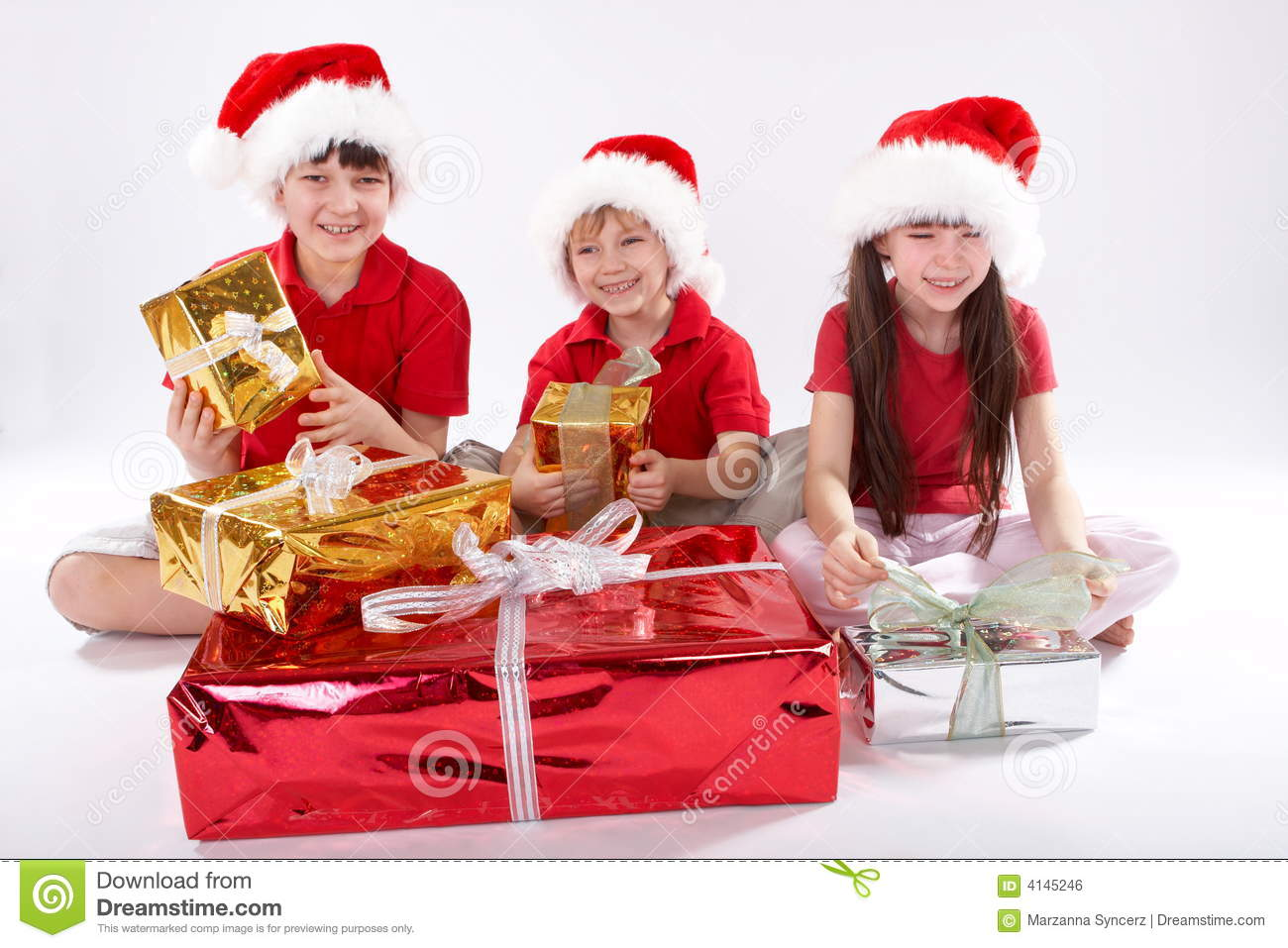 Kids Opening Christmas Gifts Stock Photo - Image of legs, gifts: 4145246