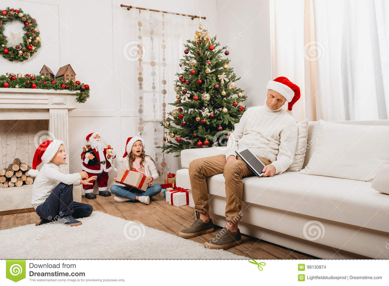 Kids Opening Christmas Gifts Stock Photo - Image of love, lovely ...