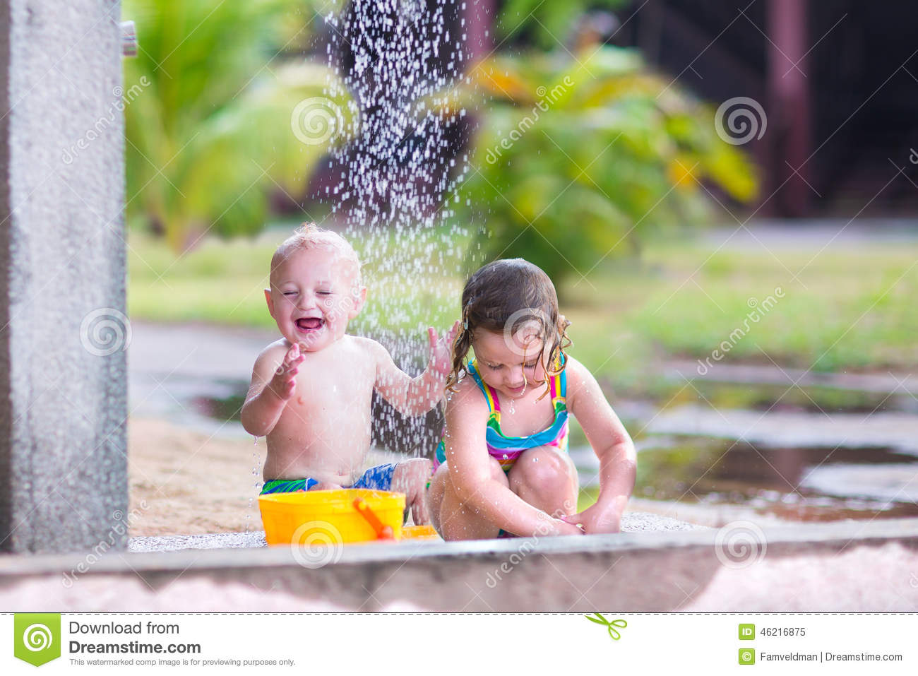 Children in shower