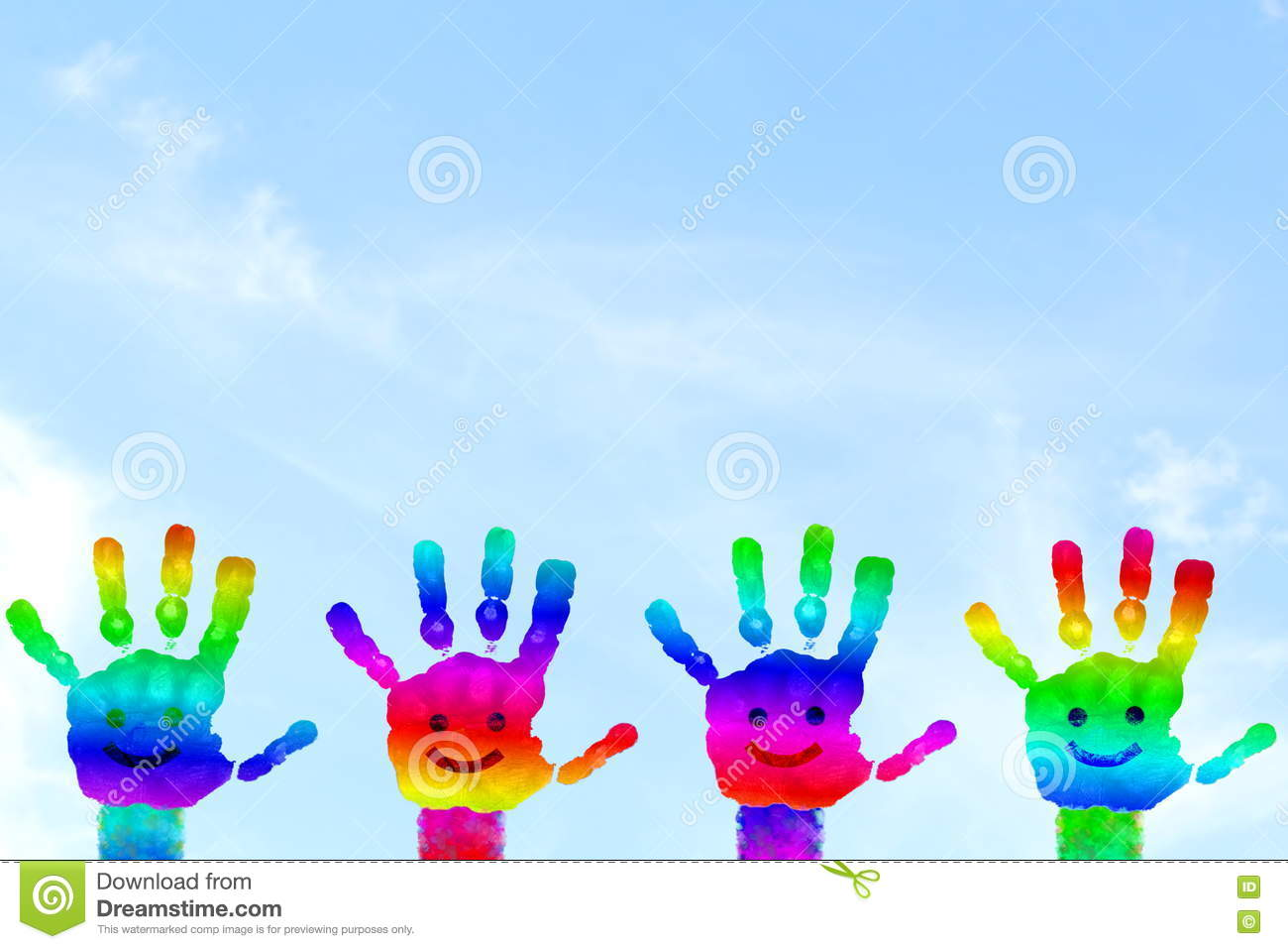Kids Painted Hand Art Colorful Rainbow Hand Prints In Sky