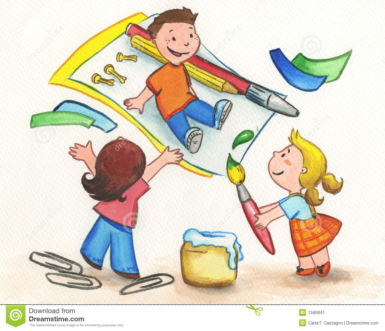 Kids painting stock illustration. Illustration of children - 1580841