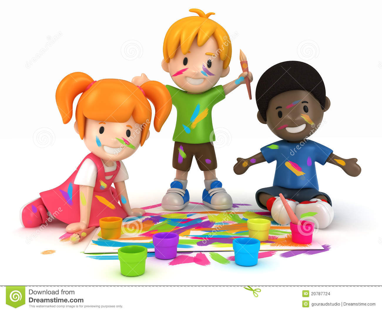Kids Painting stock illustration. Illustration of playing - 20787724