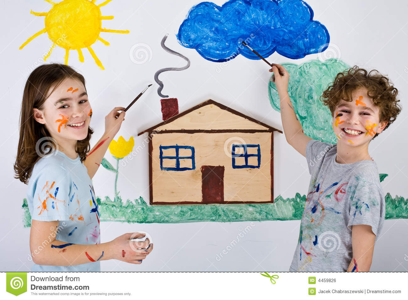 Royalty Free Stock Image Kids Painting Image4459826 on Pool House Plans Free