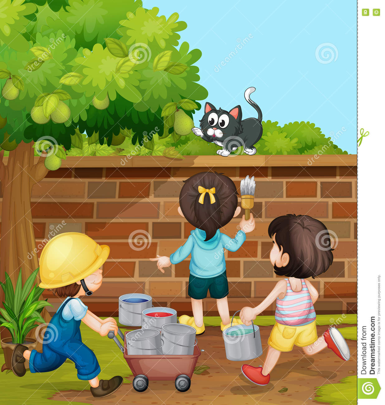 kids painting brick wall in the garden stock image - Pictures Of Kids Painting