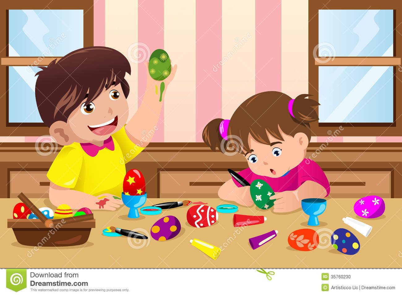 Kids painting easter eggs stock photo image 35760230 - Resource com verven ...