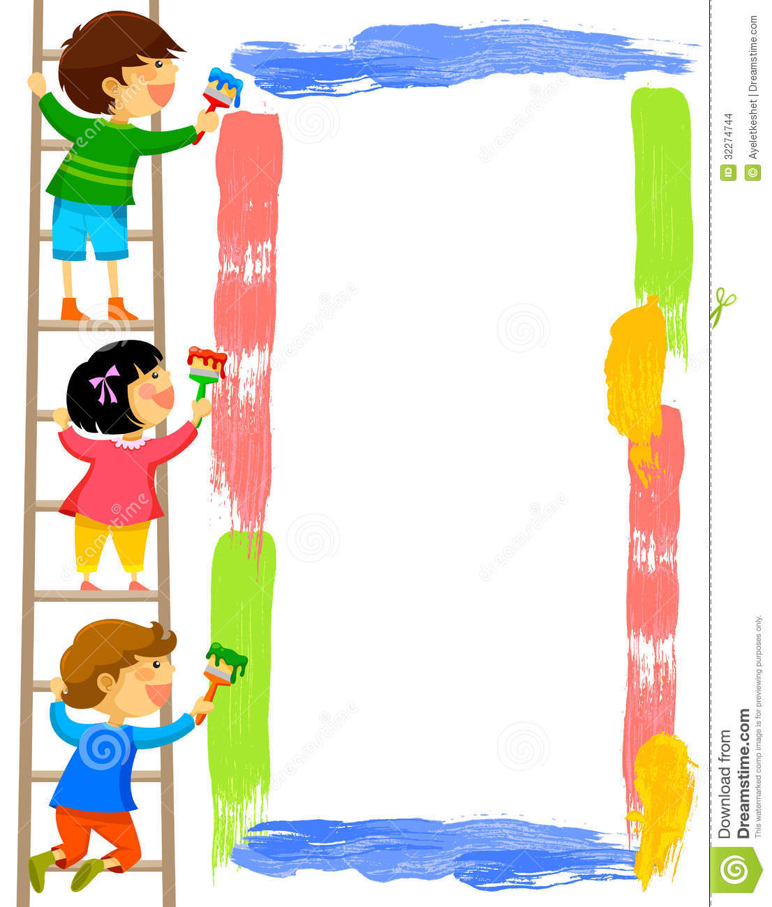 kids painting a frame stock images - Kids Paint Free