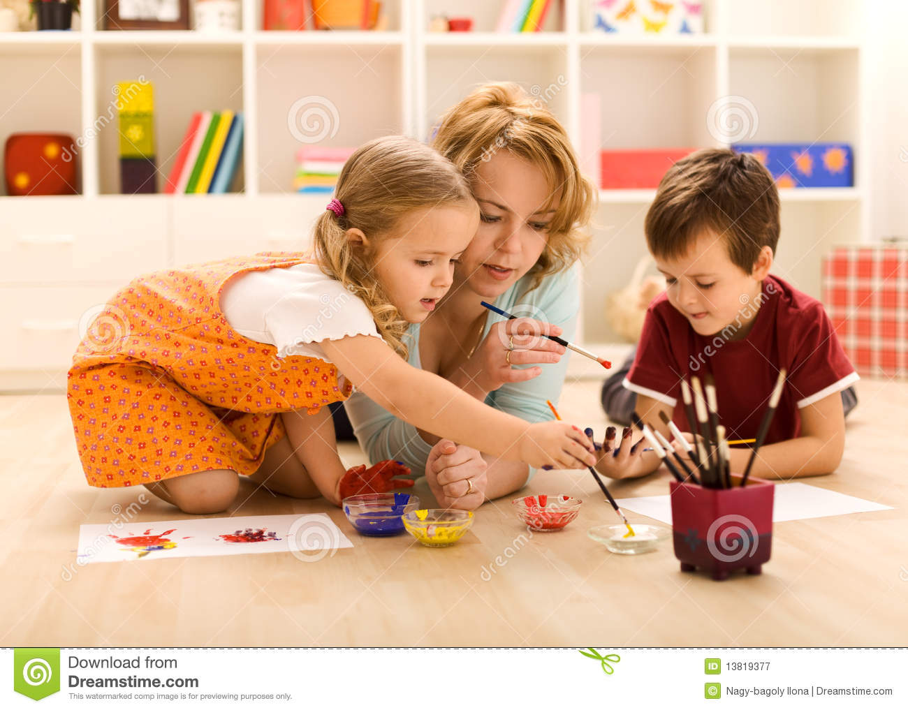 kids painting hands with their mother royalty free stock photography - Kids Painting Images