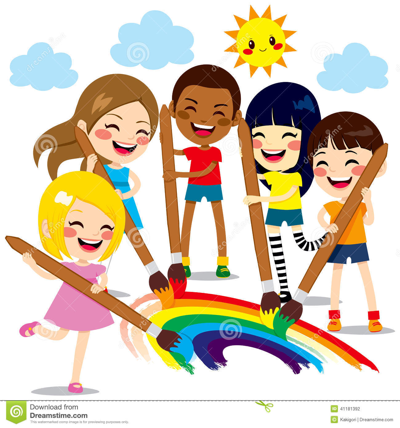 Kids Painting Rainbow stock vector. Illustration of cheerful - 41181392
