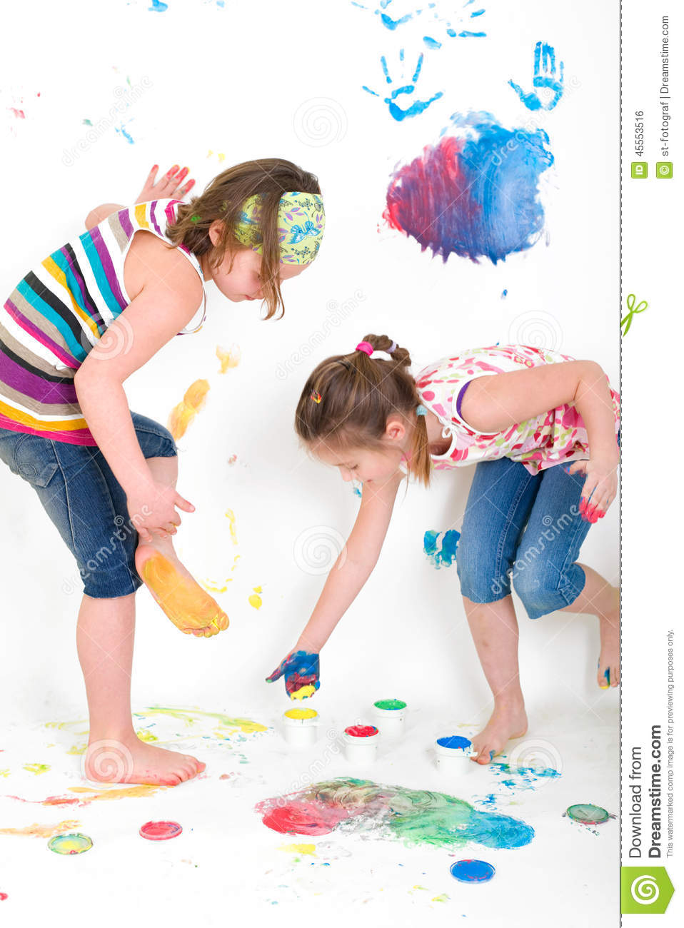 Kids While Painting Their Feet Stock Photo Image 45553516