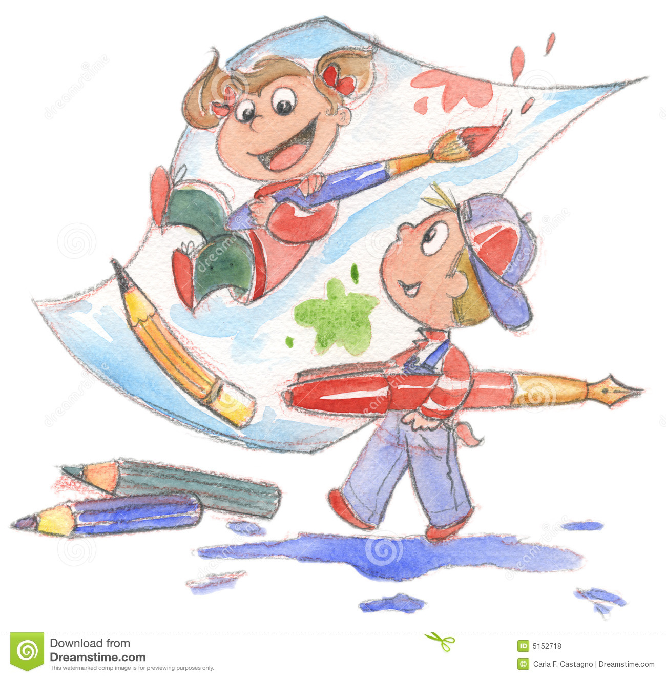 kids painting watercolor royalty free stock photos - Kids Painting Images