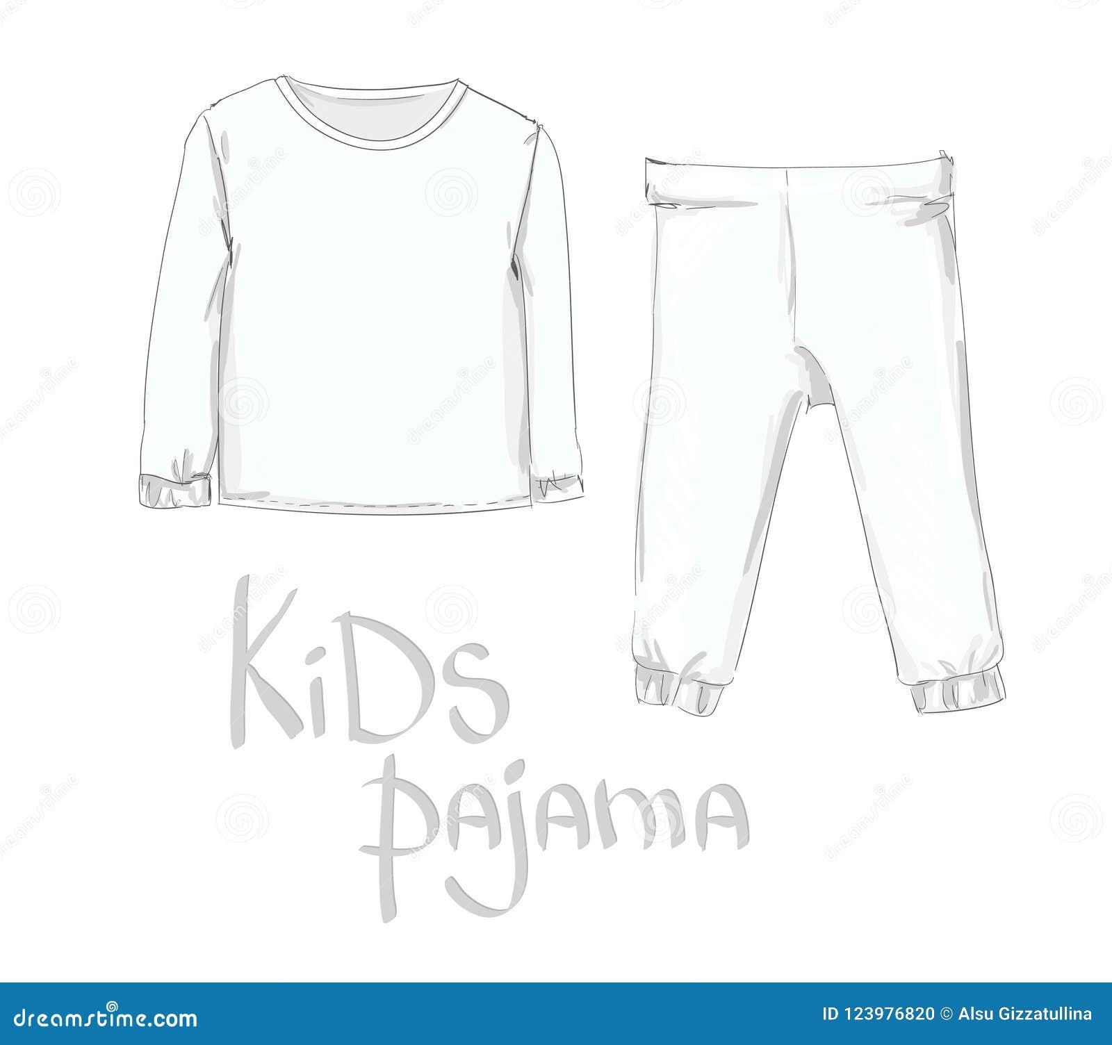 hand drawn kids pajama fashion baby clothing stock vector
