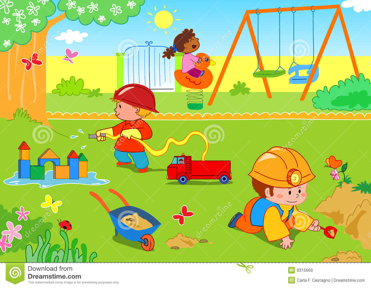 kids at the park stock vector illustration of spring Family Reunion Picnic Clip Art Picnic Clip Art