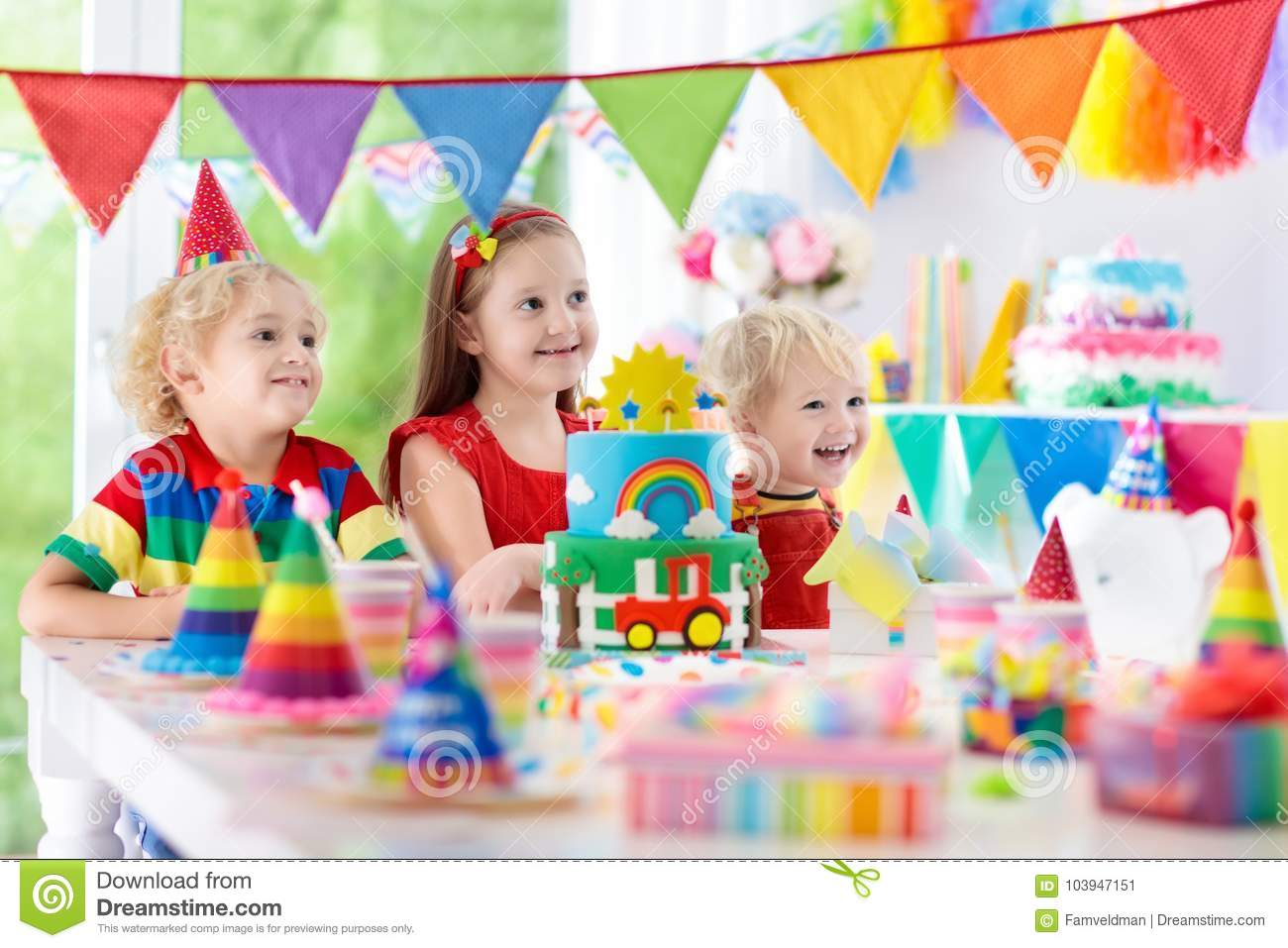 Kids Party Birthday Cake With Candles For Child Stock Image Image Of Birthday Decor 103947151