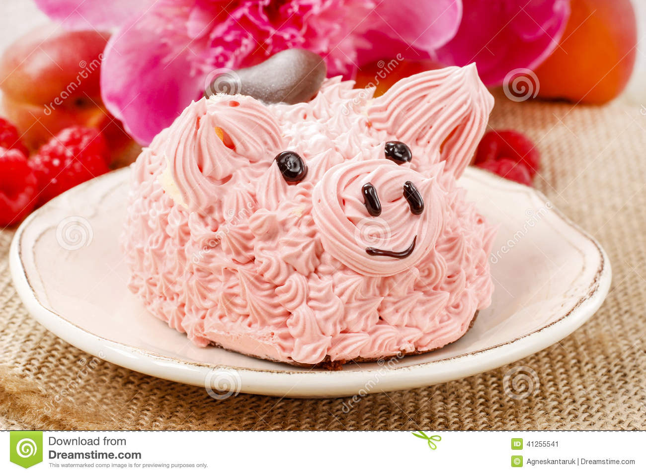 Cute pig with cake stock vector Illustration of color 11086249