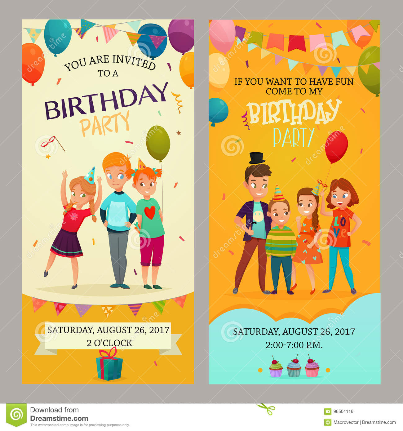 kids party invitation banners set stock vector illustration of