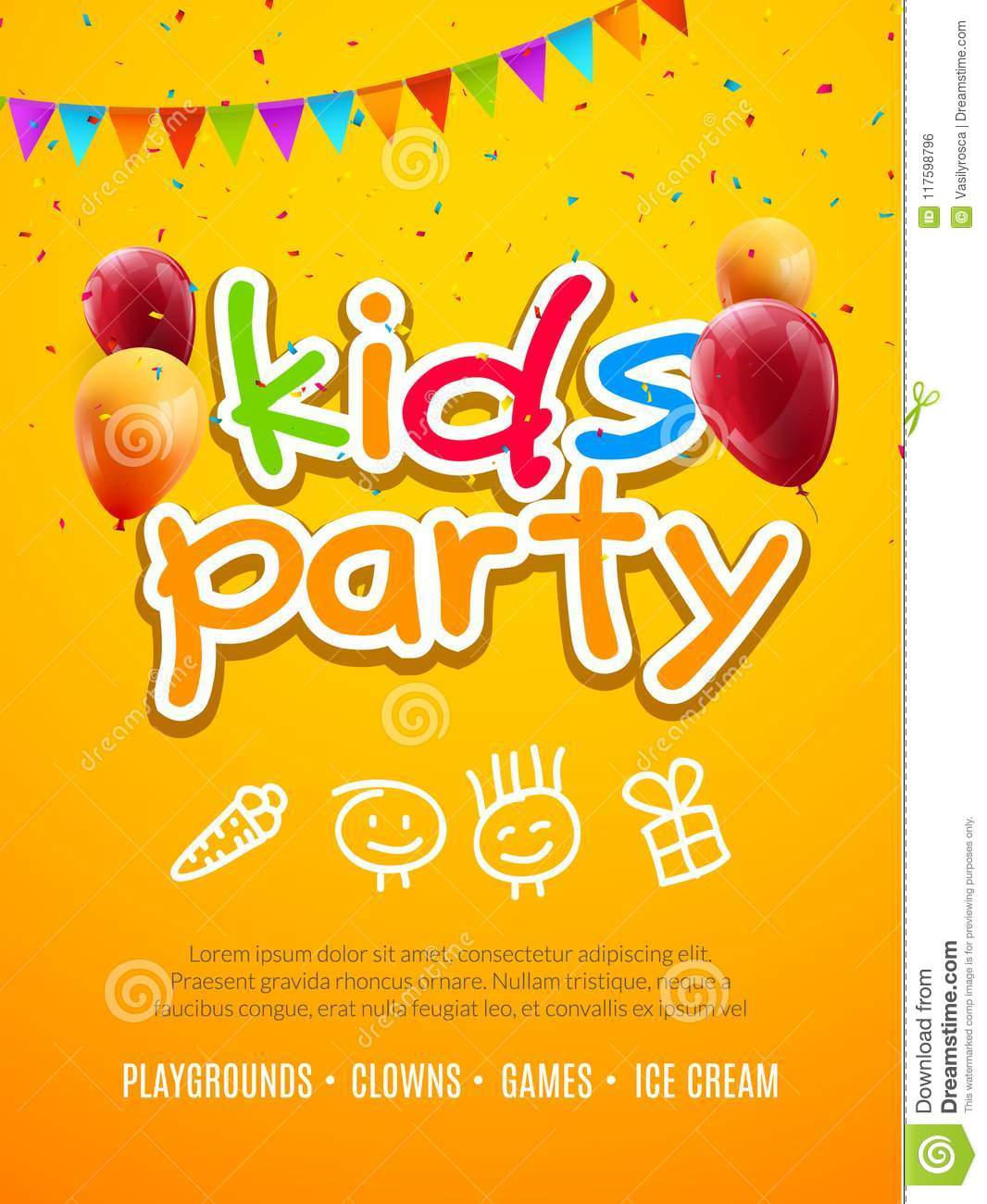 kids party invitation design template child celebrating fun flyer