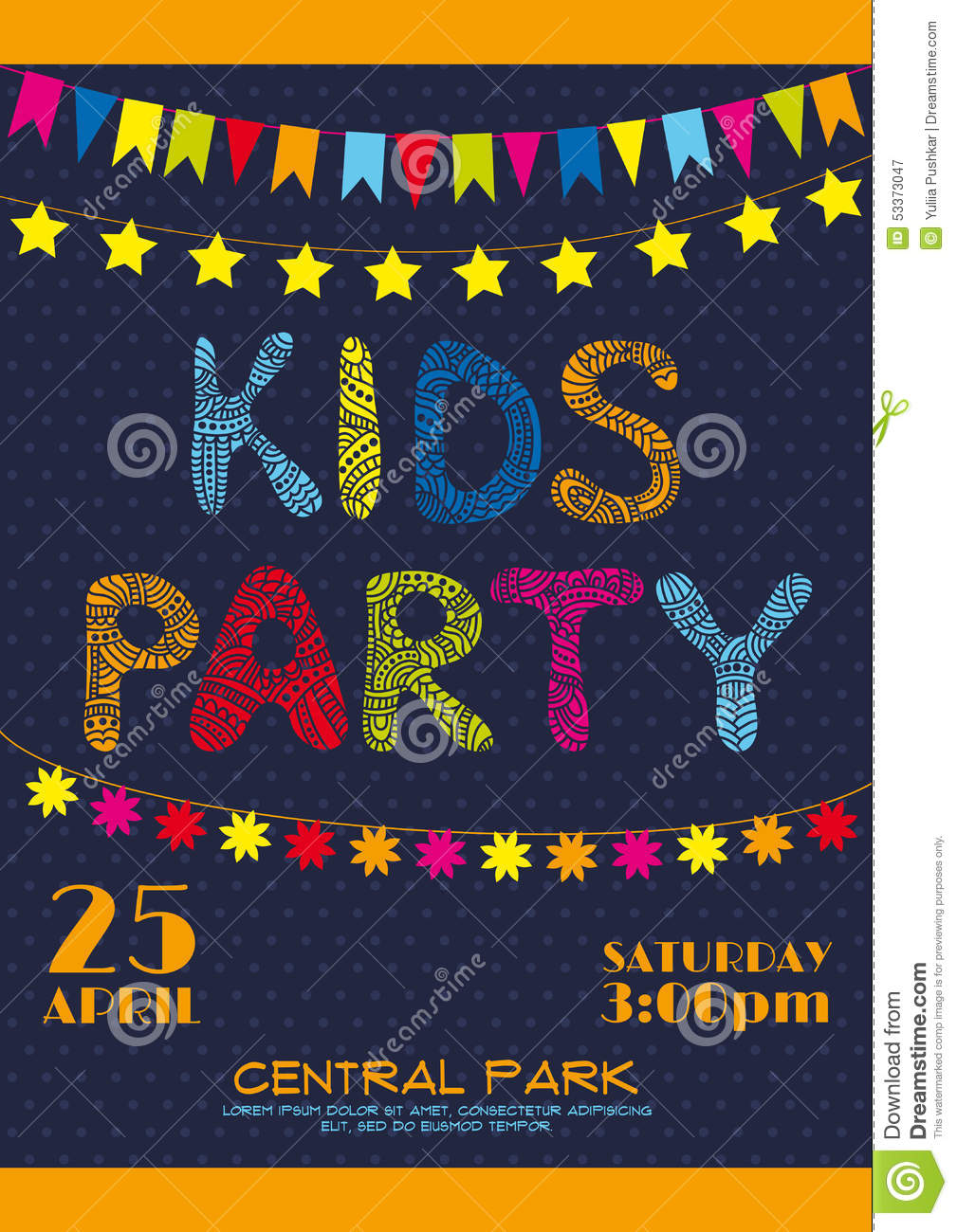 kids party invitation poster stock vector illustration of carnival