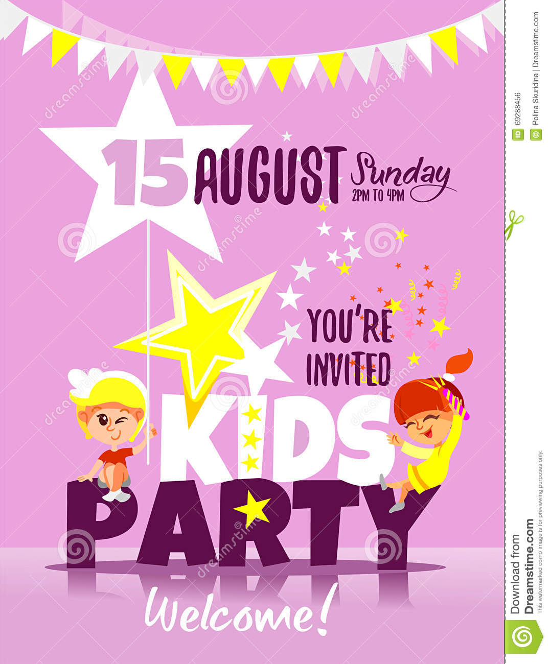 Kids Party Invitation Template With Happy Children Celebrating