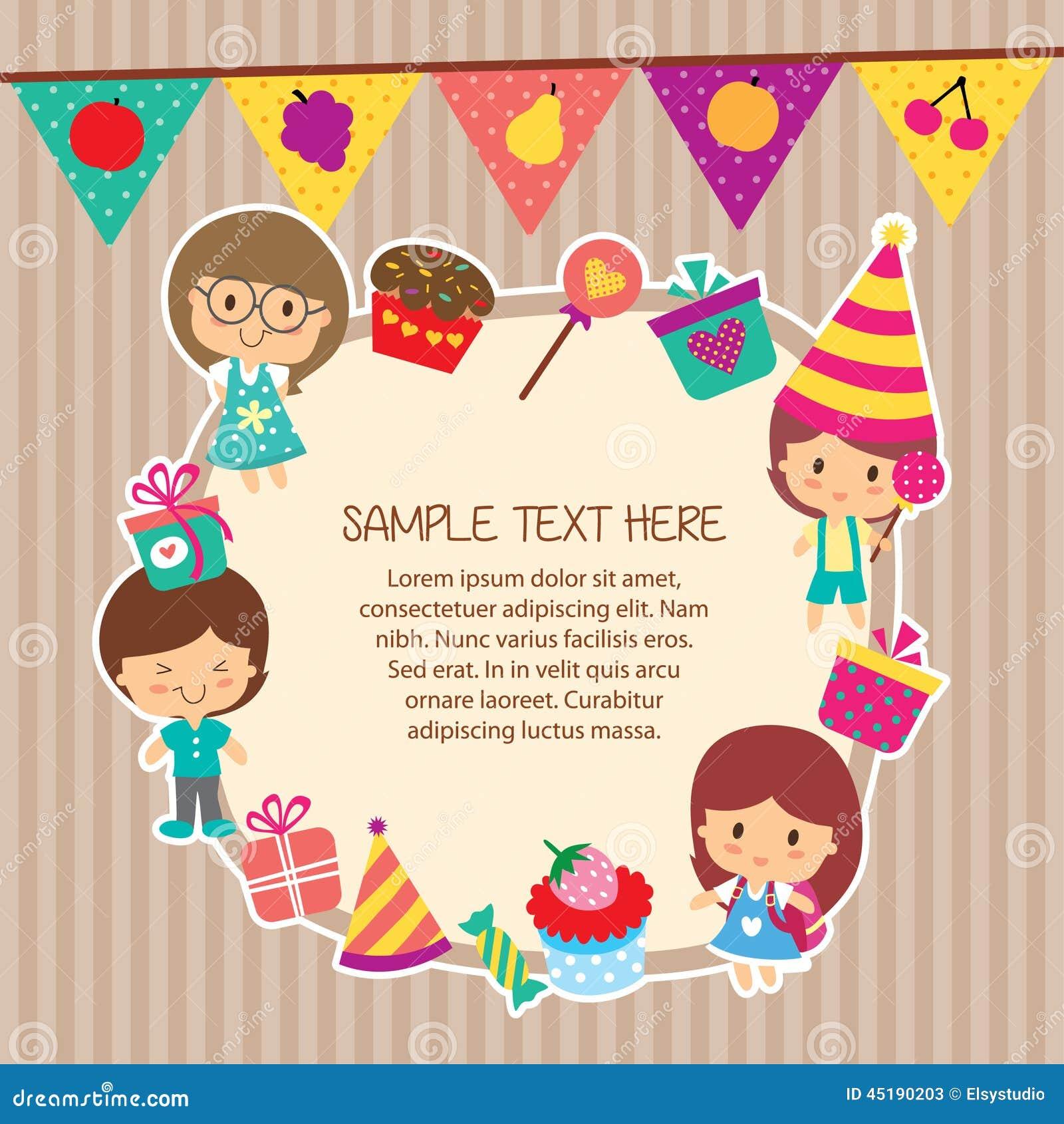 Kids Party Layout Frame Design Stock Illustration Image
