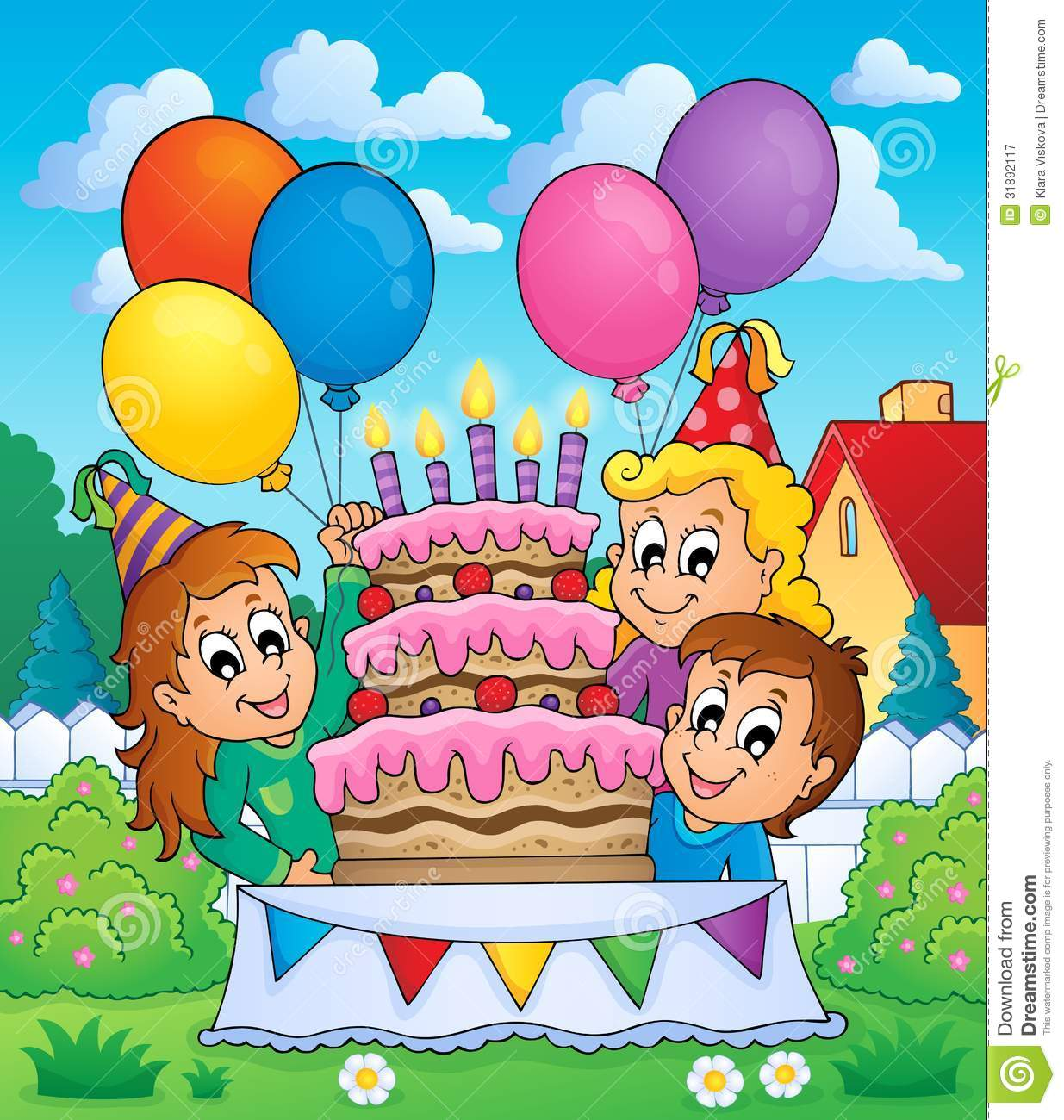 Eps10 Illustration Kids Party Vector Draw Drawing Balloons Happiness