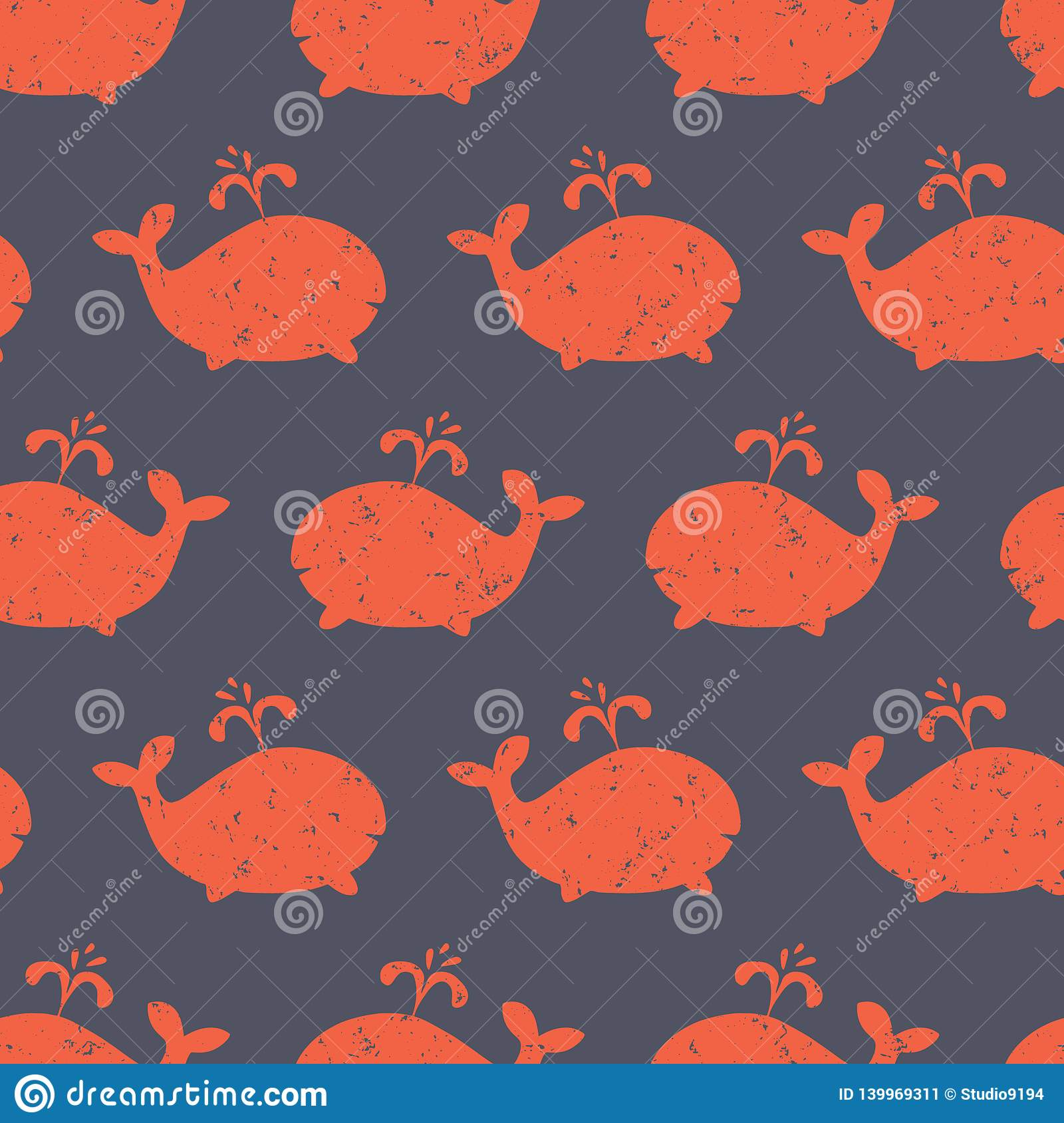 Kids Pattern Whale Shapes Seamless Vector Cute Background With Distressed Red Whale Silhouettes On Blue Baby Shower Design Stock Vector Illustration Of Nursery Doodle 139969311