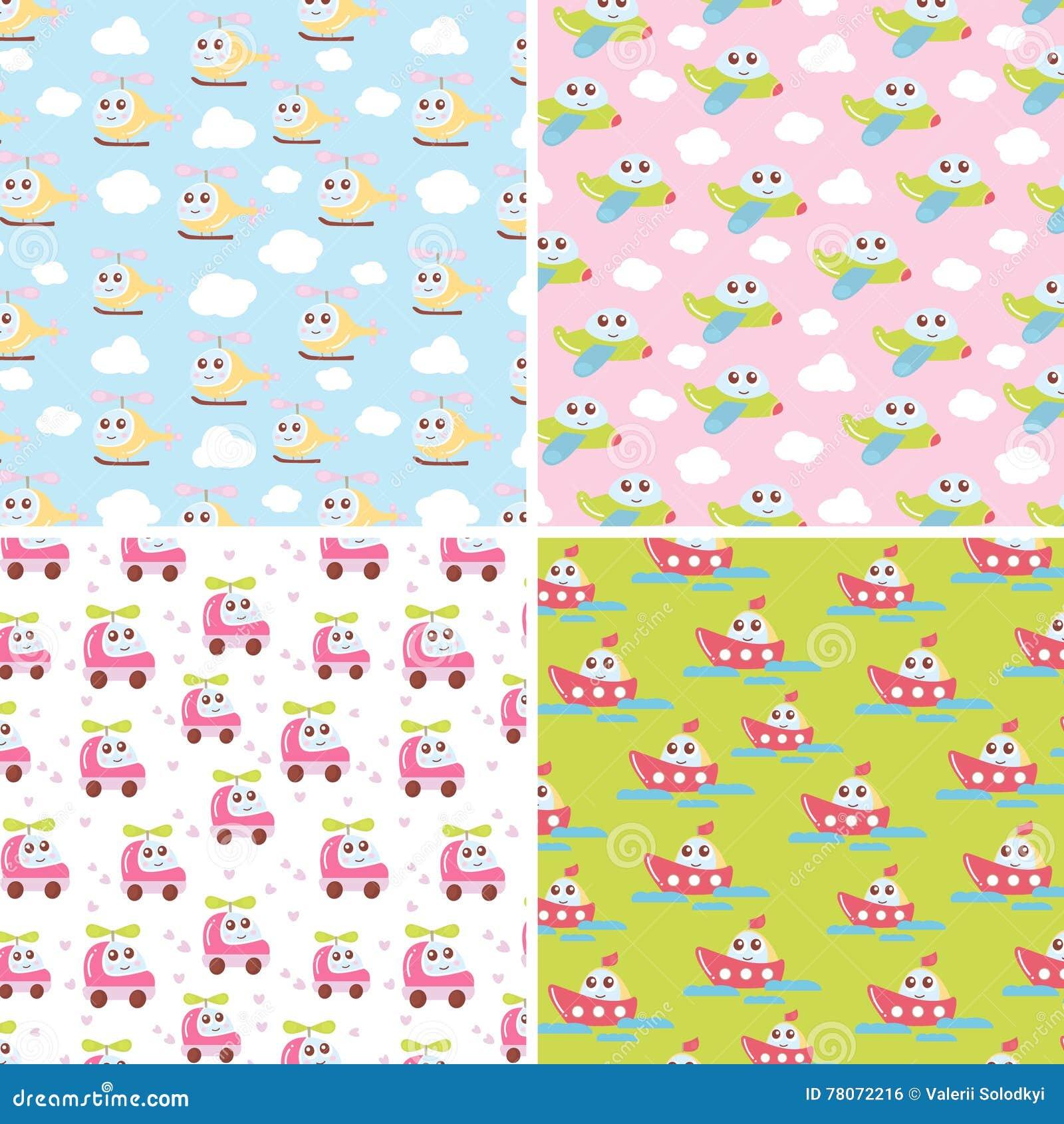 Cute baby wallpaper vector illustration cartoondealer for Childrens patterned fabric