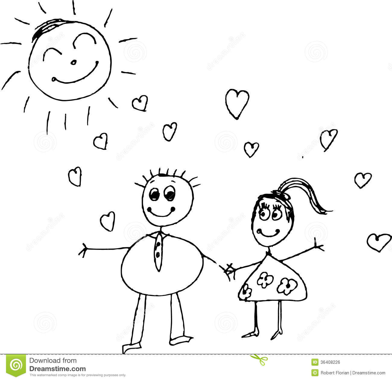 Royalty Free Stock Image Kids Pencil Drawing Of A Couple