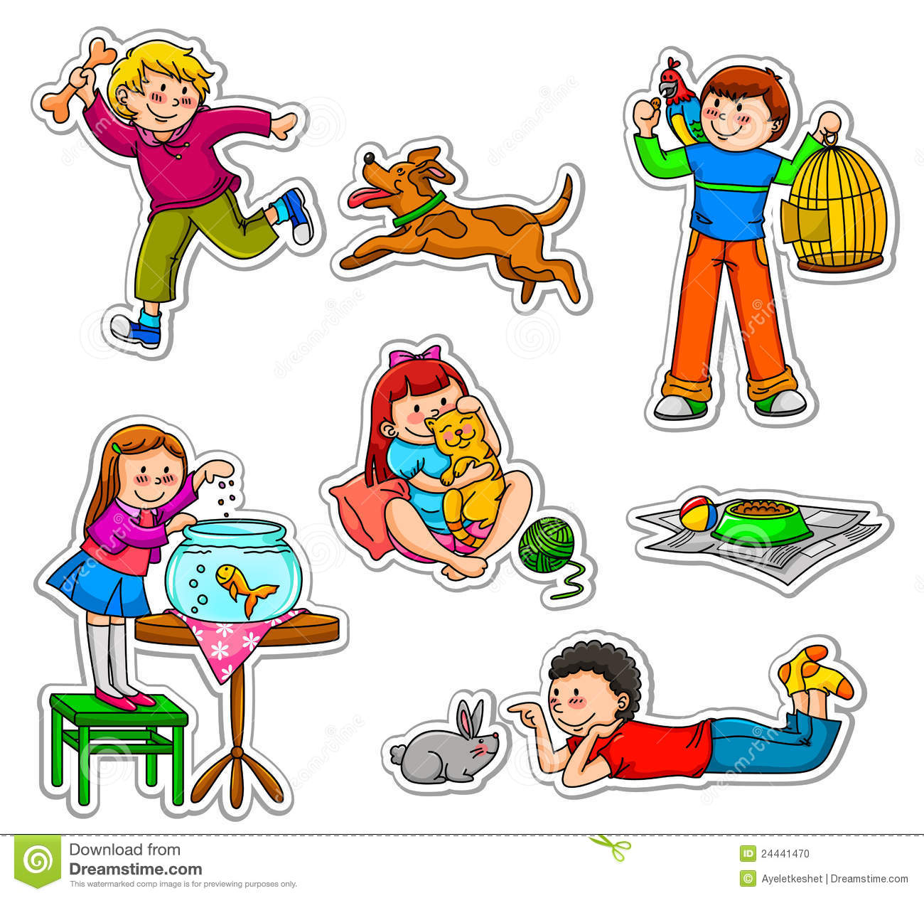 Kids And Pets Stock Photo - Image: 24441470