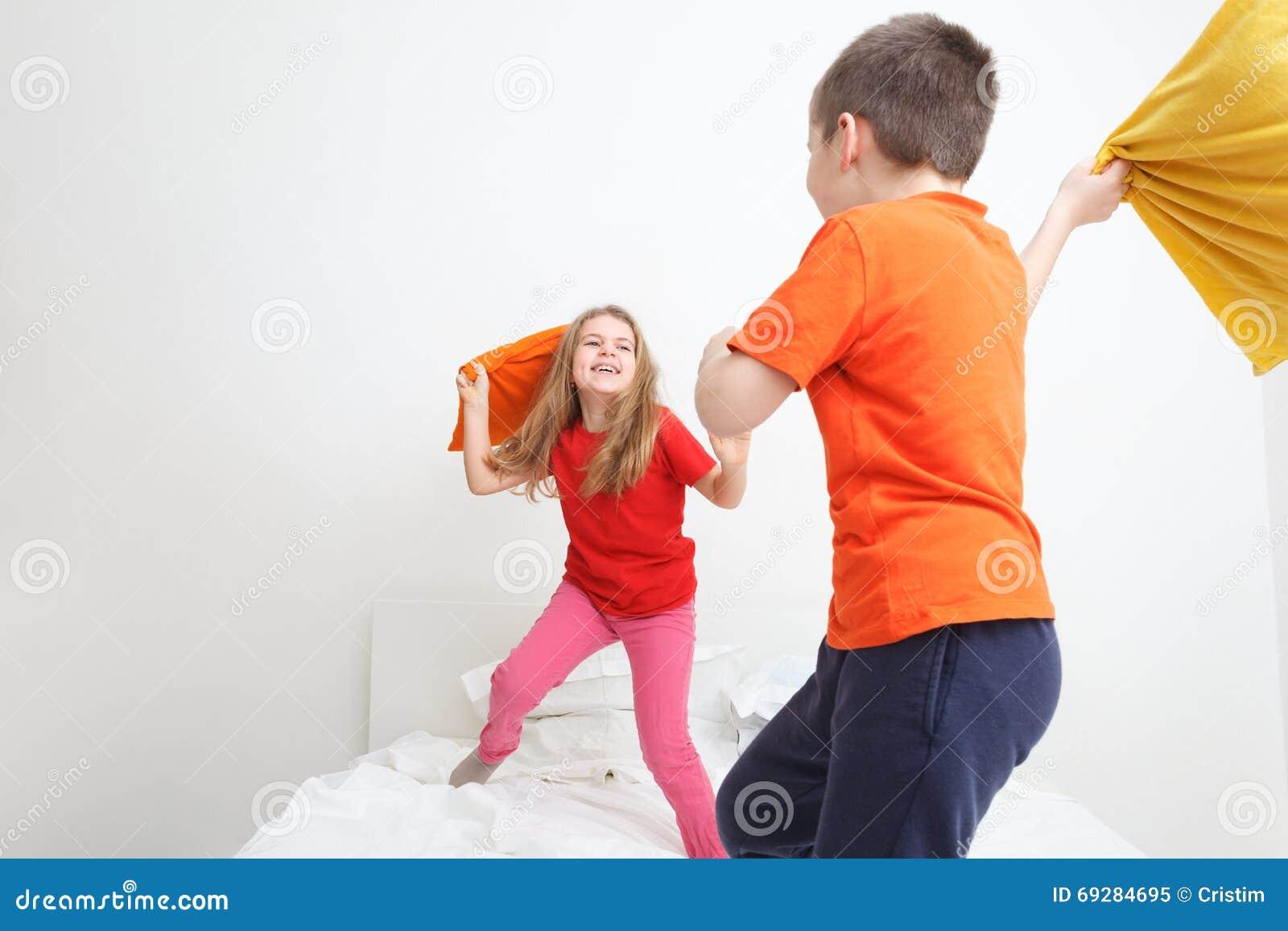 Kids Pillow Fight Stock Photo - Image: 69284695