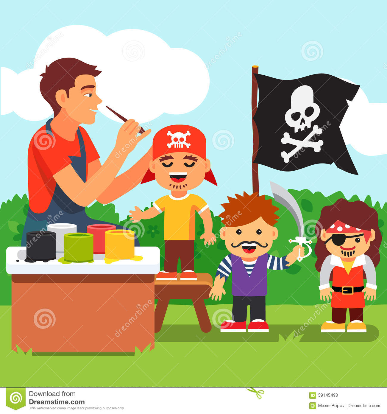 Kids Pirate Face Painting Party In Kindergarten Stock