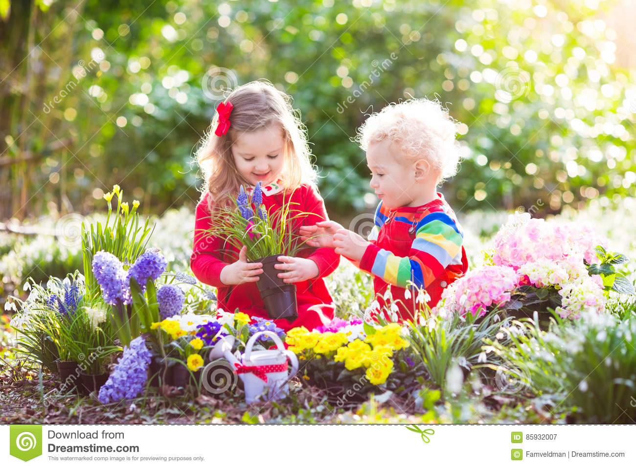 Kids Plant And Water Flowers In Spring Garden Stock Image Image Of