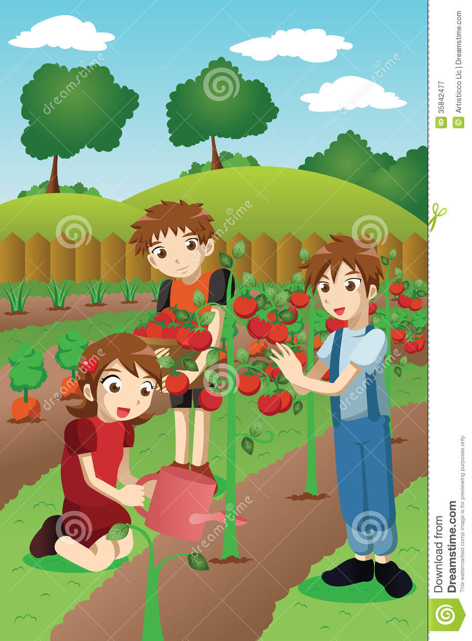 Kids Planting Vegetables And Fruits Stock Vector - Image ...