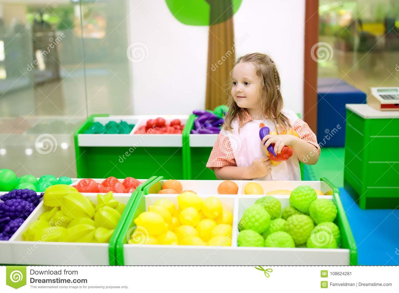 Kids Play At Toy Supermarket Or Grocery Store. Stock Image ...